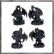 Set of Four Black Gothic Dragons & Celtic Cross with Red Gem